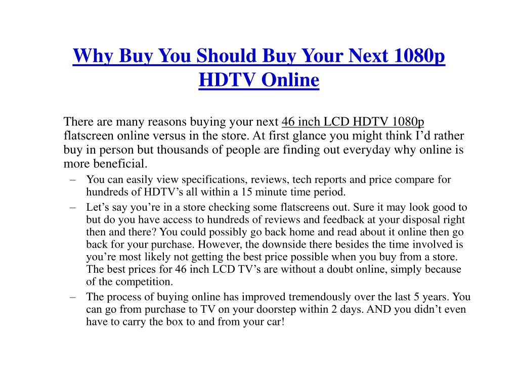 Why Buy You Should Buy Your Next 1080p HDTV Online
