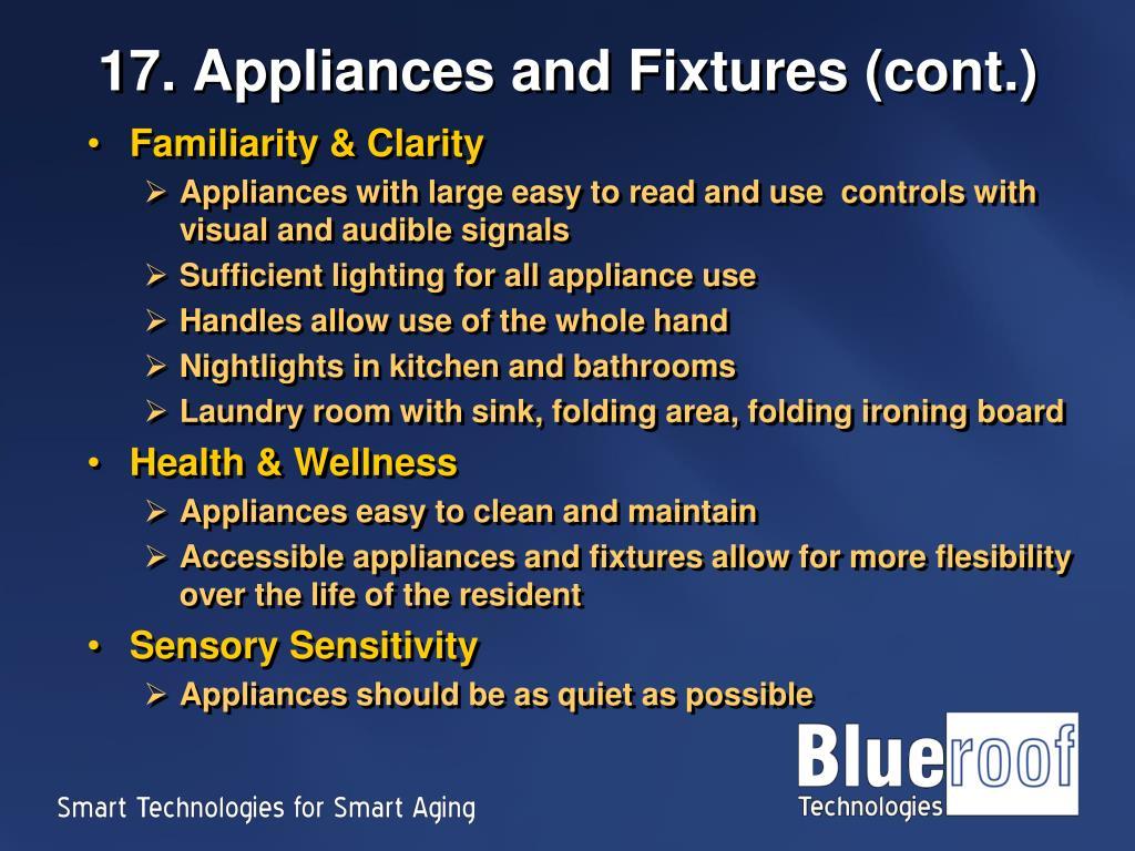 17. Appliances and Fixtures (cont.)