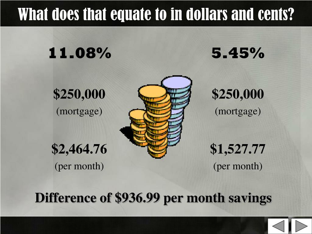 What does that equate to in dollars and cents?