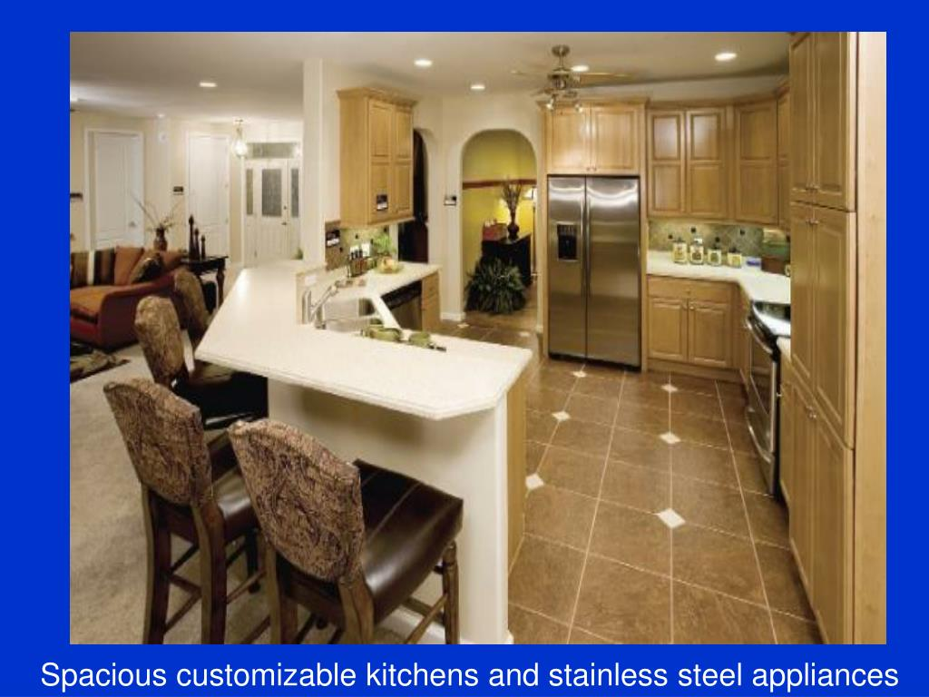 Spacious customizable kitchens and stainless steel appliances