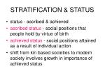 stratification status