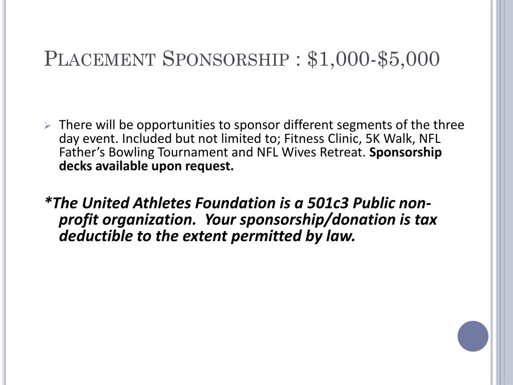 Placement Sponsorship : $1,000-$5,000