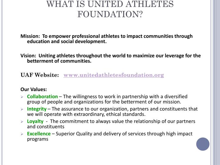What is united athletes foundation