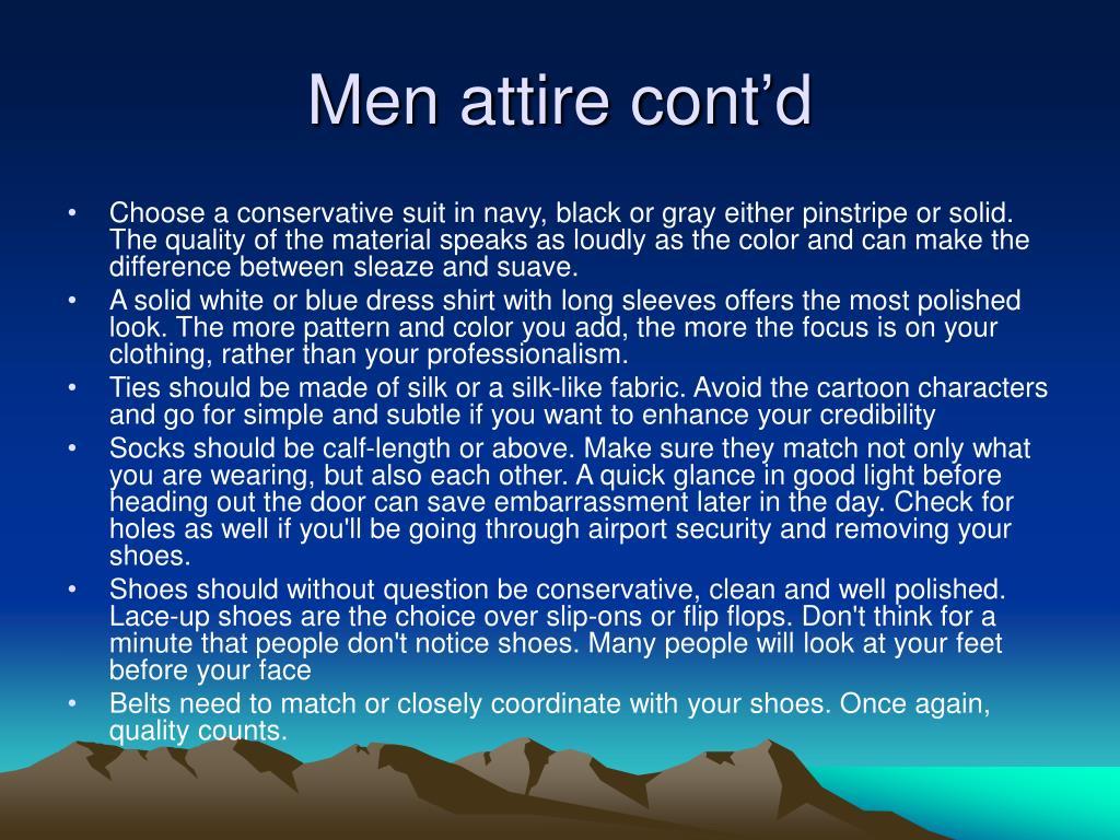 Men attire cont'd