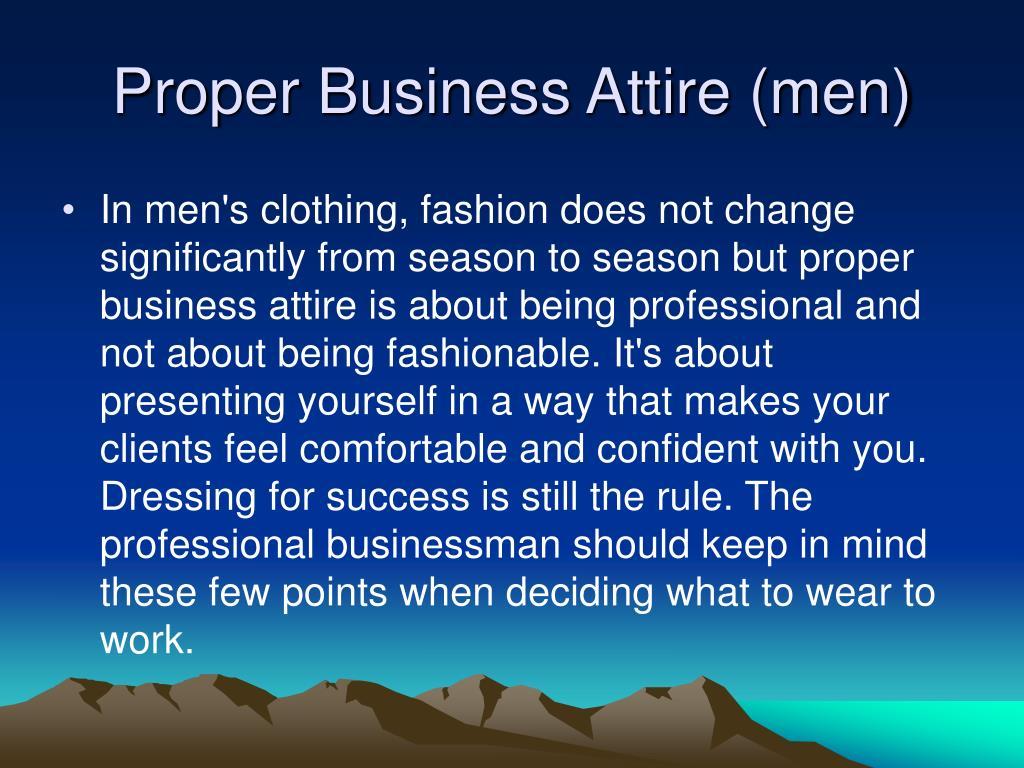 Proper Business Attire (men)