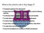 what is the school s role in key stage 3