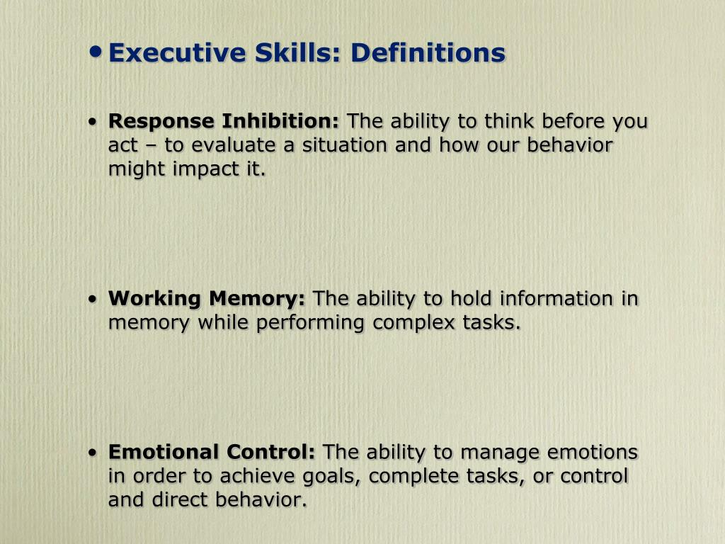 Executive Skills: Definitions