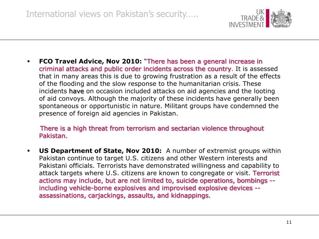 International views on Pakistan's security…..