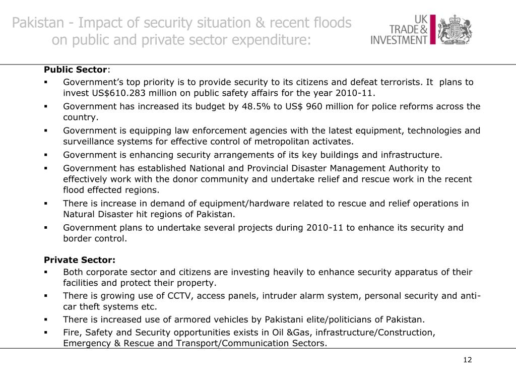 Pakistan - Impact of security situation & recent floods  on public and private sector expenditure: