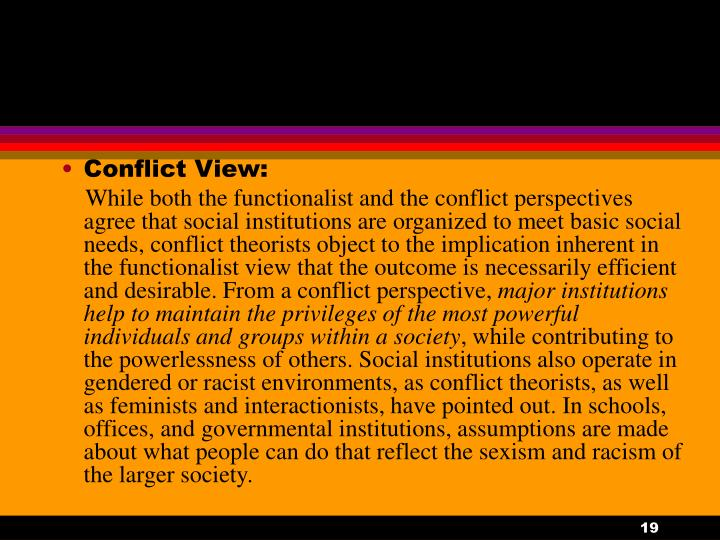 Conflict View:
