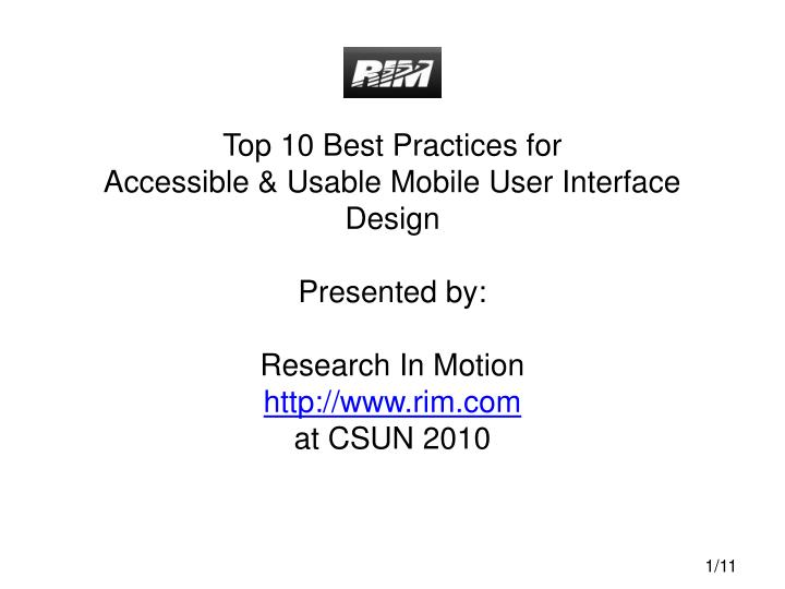 Top 10 Best Practices for