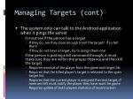 managing targets cont