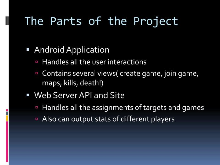 The parts of the project
