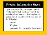 football information sheets