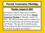 parent awareness meeting
