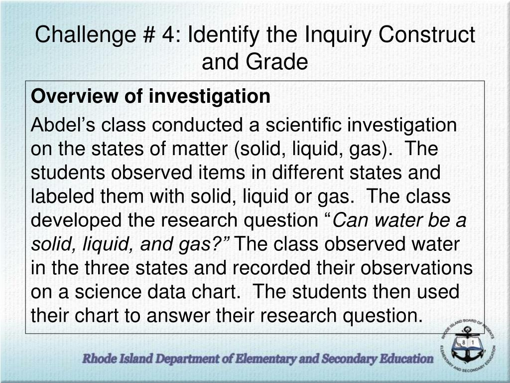 Challenge # 4: Identify the Inquiry Construct and Grade