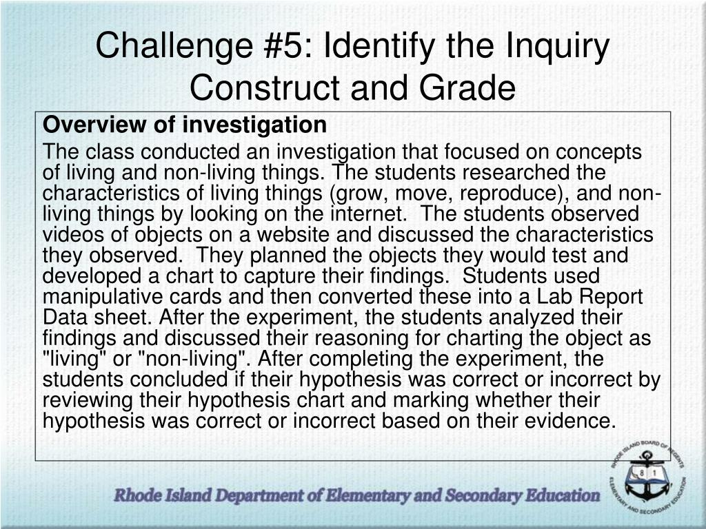 Challenge #5: Identify the Inquiry Construct and Grade