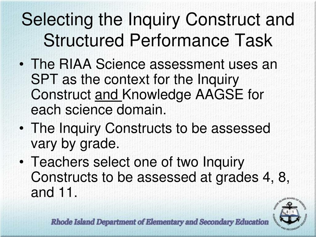 Selecting the Inquiry Construct and Structured Performance Task