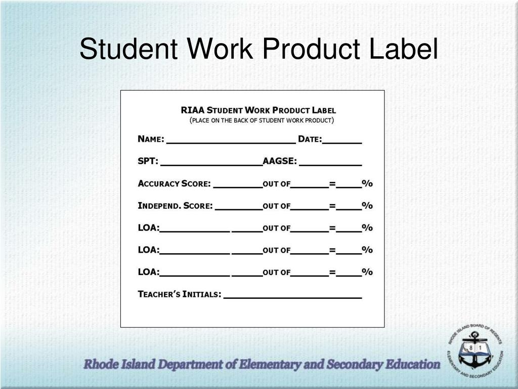 Student Work Product Label