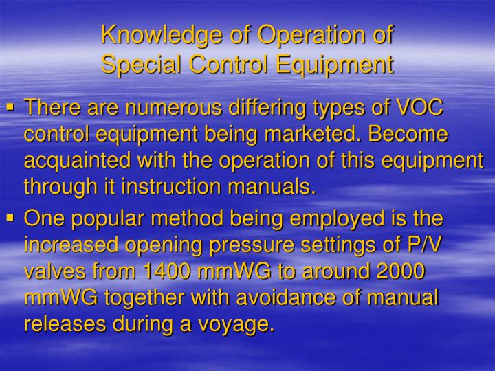 Knowledge of Operation of