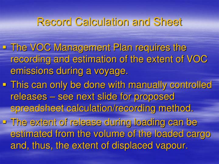 Record Calculation and Sheet
