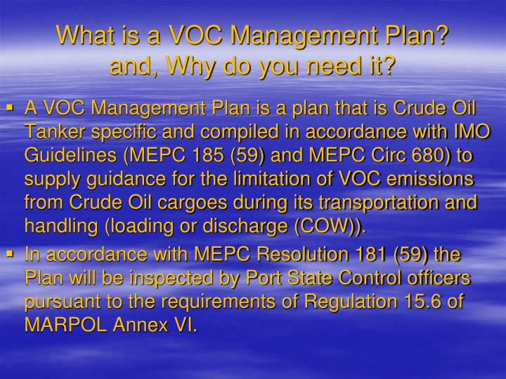 What is a voc management plan and why do you need it
