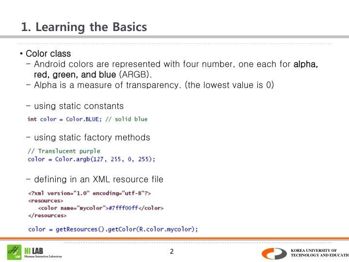 1 learning the basics