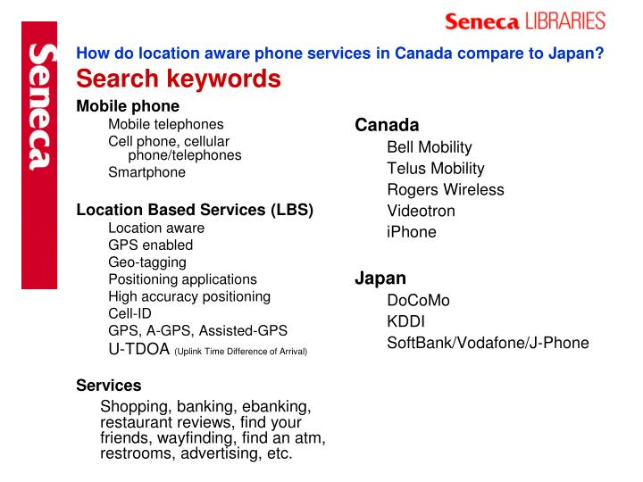 How do location aware phone services in canada compare to japan search keywords