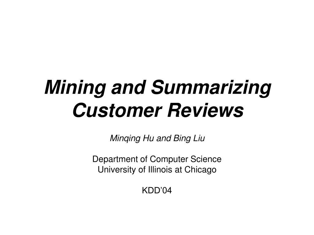 mining and summarizing customer reviews l.