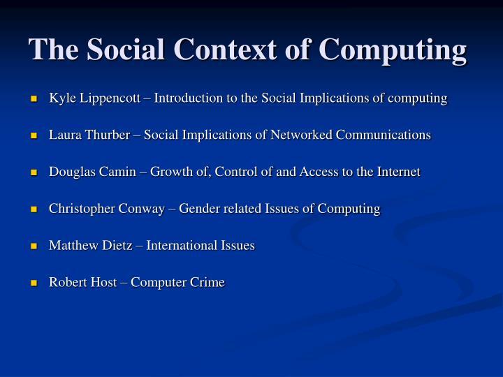 The social context of computing2