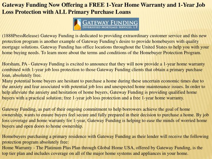 Gateway Funding Now Offering a FREE 1-Year Home Warranty and 1-Year Job Loss Protection with ALL Pri...