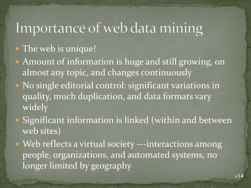 Importance of web data mining