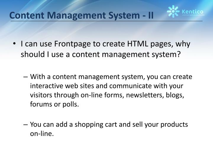 Content management system ii