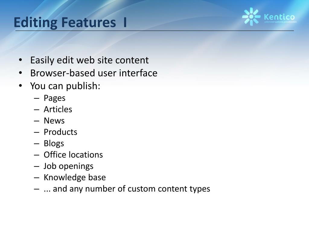 Editing Features  I