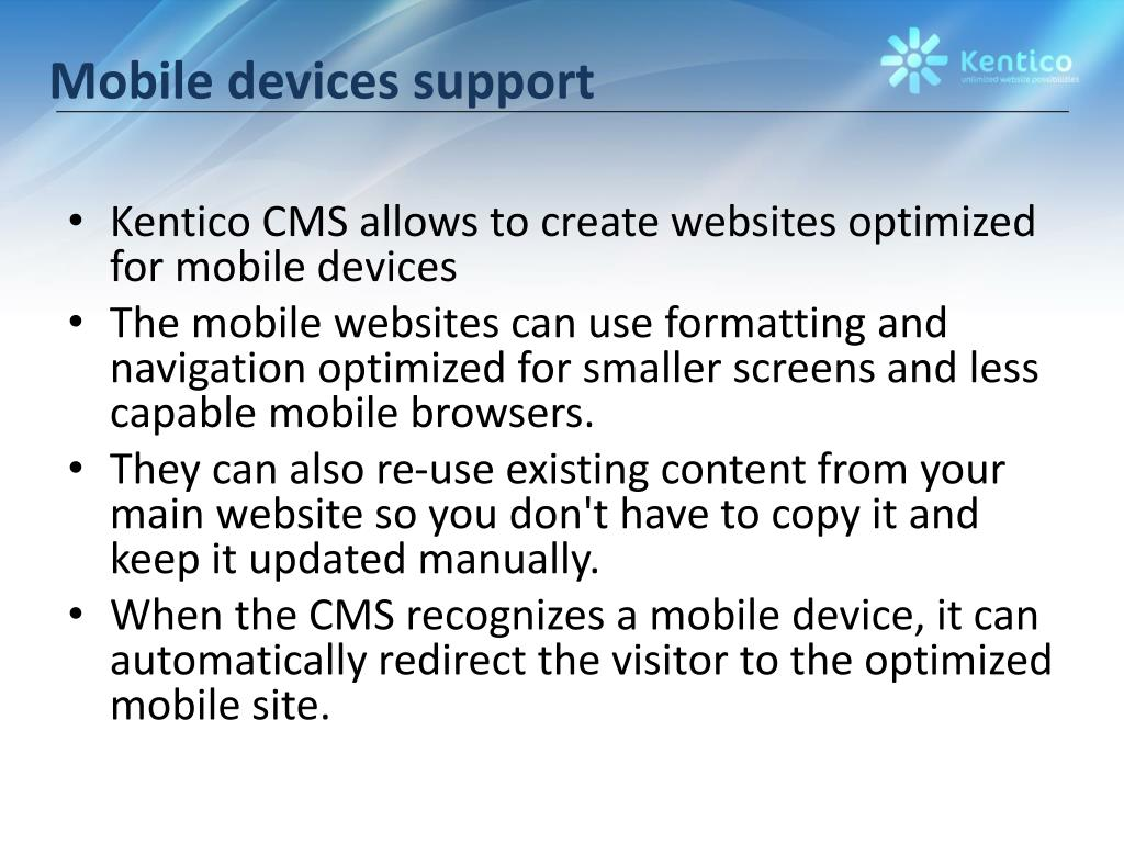 Mobile devices support