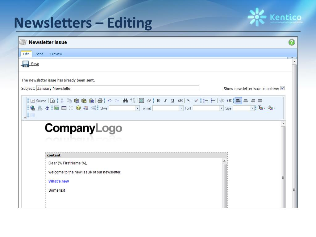 Newsletters – Editing
