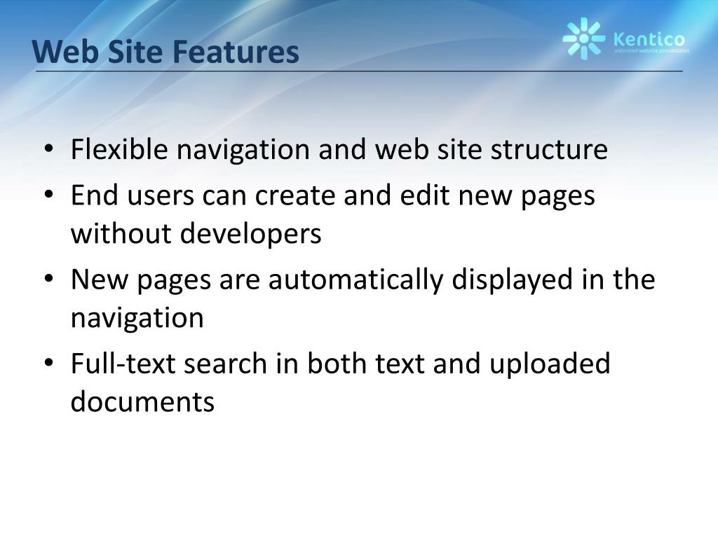 Web Site Features