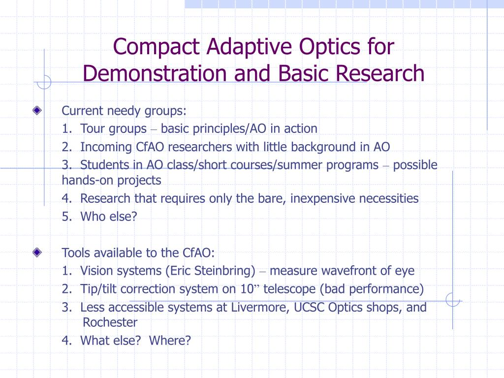Compact Adaptive Optics for Demonstration and Basic Research