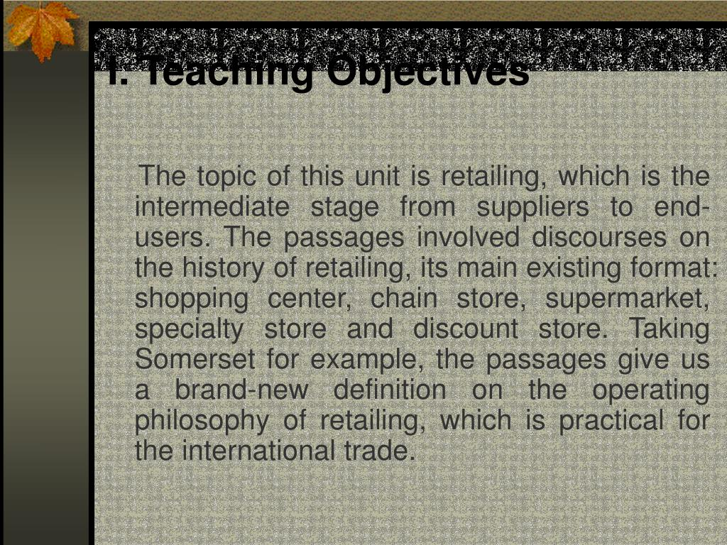 I. Teaching Objectives