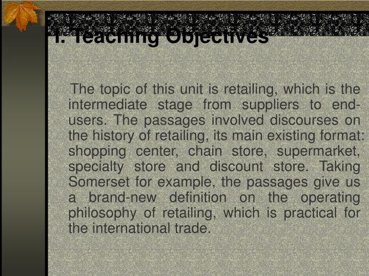 I teaching objectives