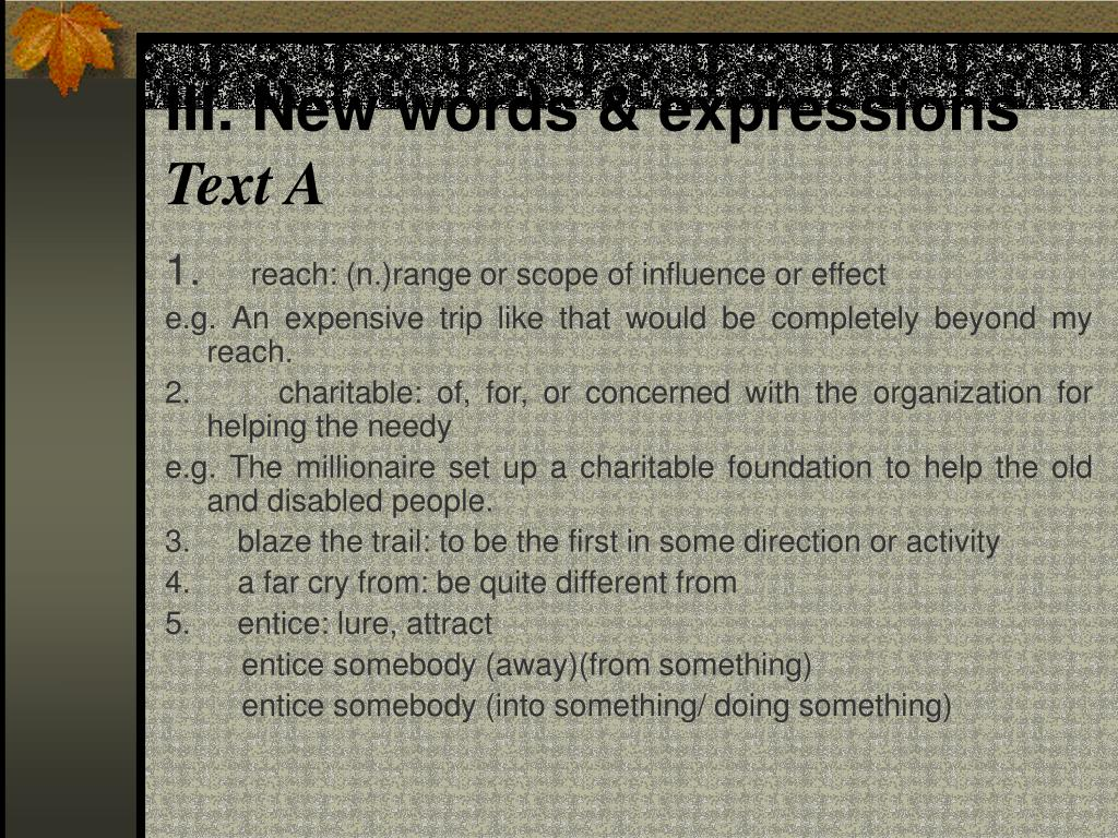 III. New words & expressions