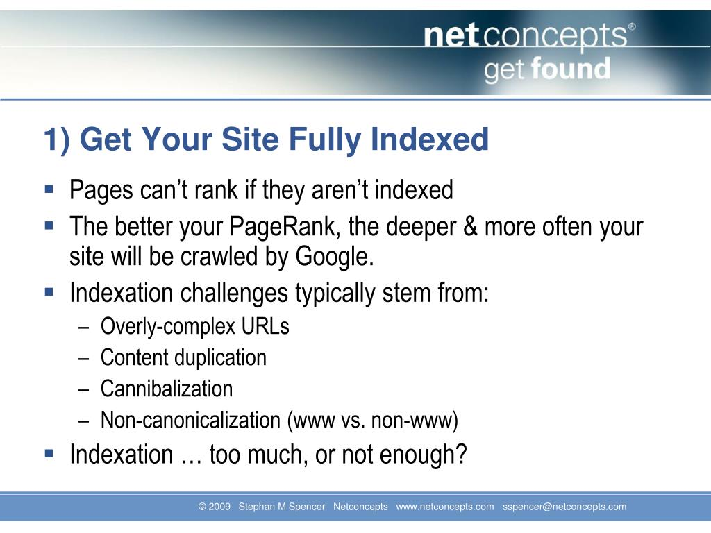 1) Get Your Site Fully Indexed