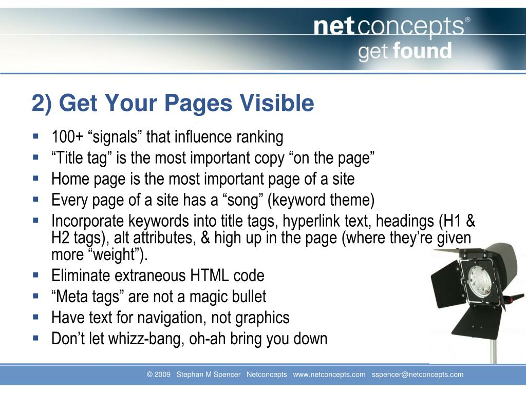 2) Get Your Pages Visible