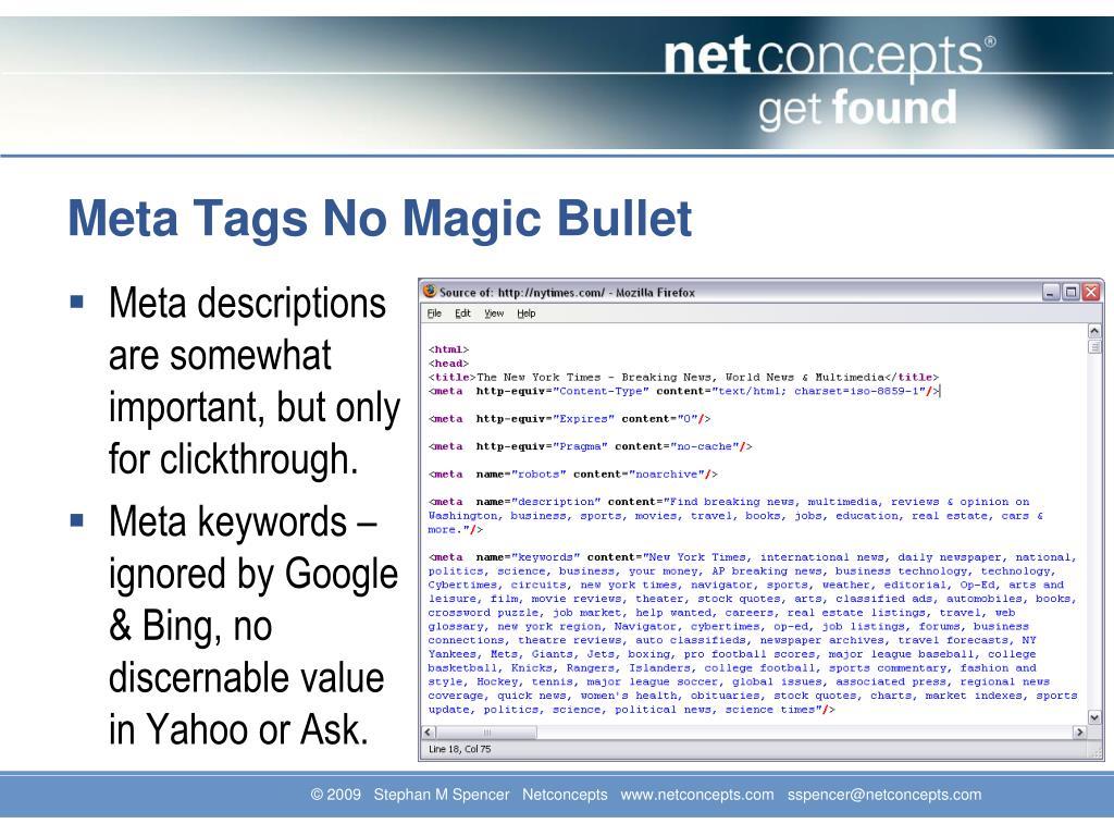 Meta Tags No Magic Bullet