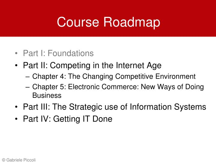 Course roadmap