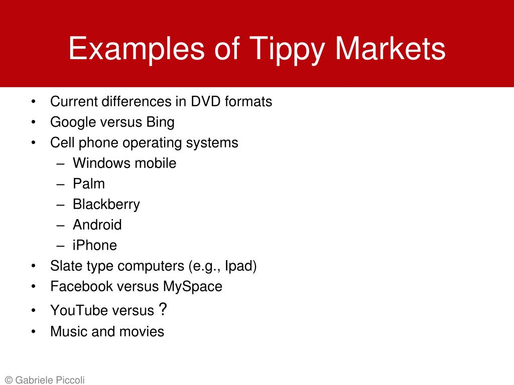 Examples of Tippy Markets