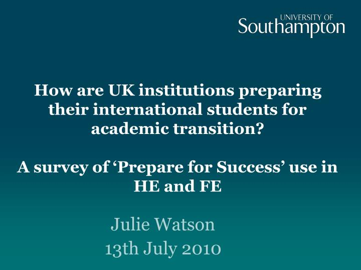 How are UK institutions preparing their international students for academic transition?