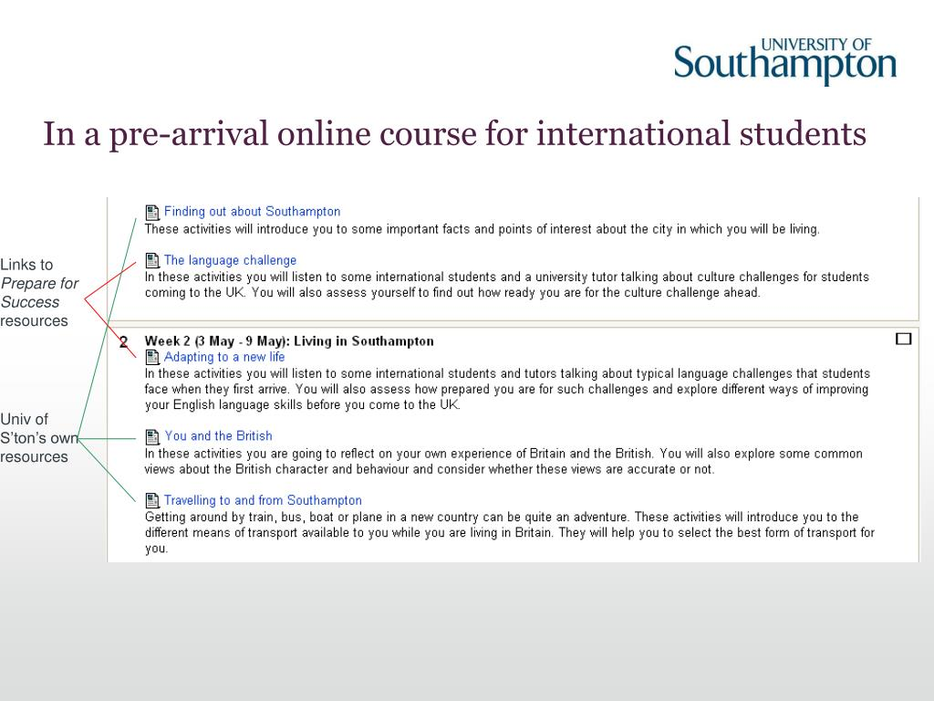 In a pre-arrival online course for international students