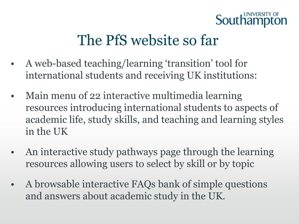The PfS website so far