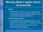 mining web logfile data zoominur